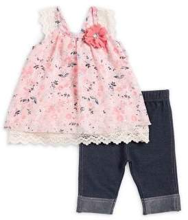 Little Lass Baby Girl's Two-Piece Skimmer Floral Embellished Top and Pants set