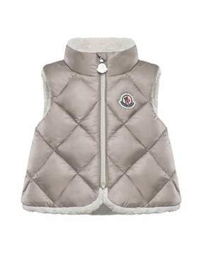 Moncler Ysaline Quilted Sherpa-Lined Vest, Size 12M-3T