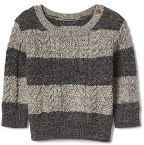 Gap Stripe button aran sweater