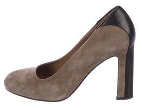 Hermes Suede Round-Toe Pumps