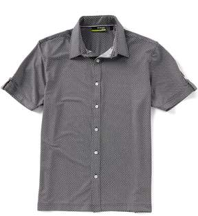 Murano Slim-Fit Print Performance Short-Sleeve Woven Shirt