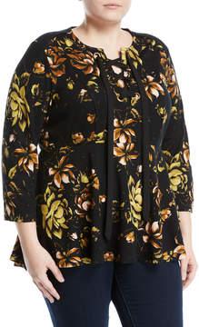 Melissa McCarthy Jungle-Flower Lace-Front Peplum Blouse, Plus Size