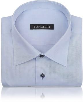 Forzieri Blue Twill Dress Shirt