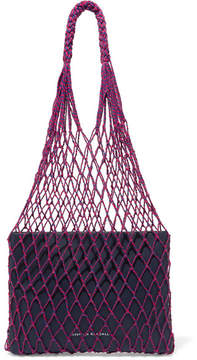 Loeffler Randall Adrienne Macramé And Leather Tote - Midnight blue