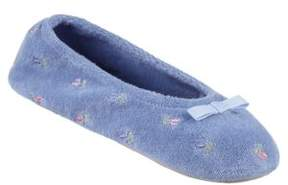 Isotoner Terry Embroidered Ballerina Slippers