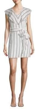 Collective Concepts Flutter Sleeve Striped V-Neck Dress