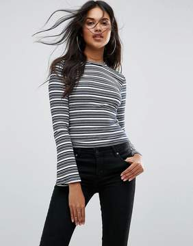 Goldie Vision Irregular Stripe Long Sleeve Bell Arm Fitted Top