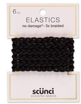 Scunci 2mm No Damage Braided Elastics - 6pk
