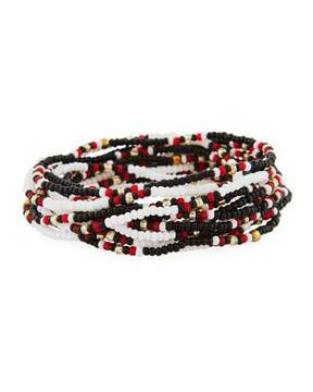 Neiman Marcus On the Bead Beaded Bracelet, Black/White