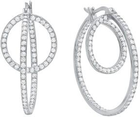 Crislu CZ Pave Twin Hoop Earrings