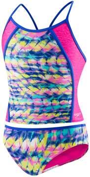 Speedo Girls 7-16 Printed Splice Tankini & Bottoms Swimsuit Set
