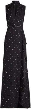 Elie Saab V-neck polka-dot print silk-georgette gown