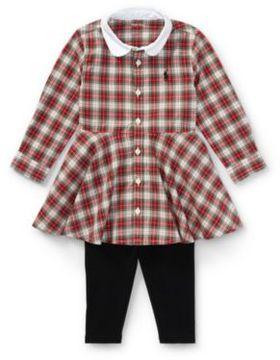 Ralph Lauren Plaid Shirtdress & Legging Set Red Tartan 3M