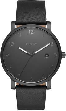 Skagen Men's Hagen Black Leather Strap Watch 40mm SKW6308