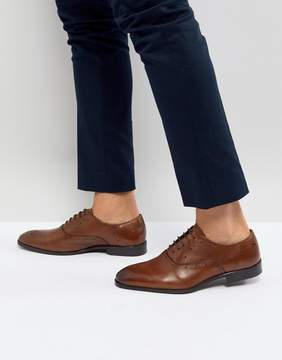Asos Brogue Shoes In Tan Leather