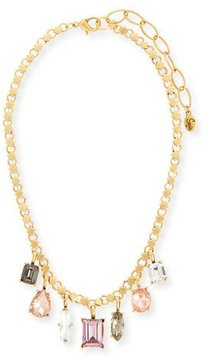 Sequin Multicolor Dangling Crystal Statement Necklace, Pink/Neutral