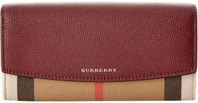Burberry Porter House Check & Leather Continental Wallet - PURPLE - STYLE