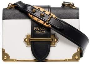 Prada black and white cahier leather bag