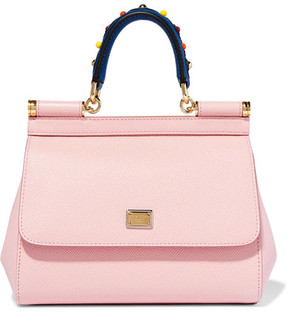 Dolce & Gabbana - Sicily Small Embellished Textured-leather Tote - Pastel pink