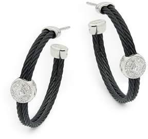 Alor Women's Diamond, 18K White Gold & Stainless Steel Hoop Earrings