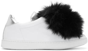Joshua Sanders White Pom Pom Slip-On Sneakers