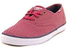 Keds Champion Micro Dot Women Round Toe Canvas Red Sneakers.