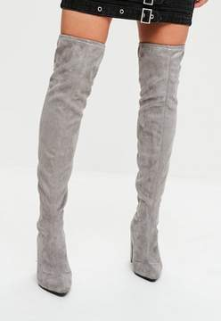 Missguided Grey Faux Suede Pointed Over The Knee Boots