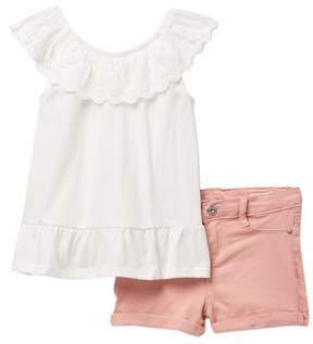 AG Jeans Eyelet Jersey Top & Sateen Shorts Set (Toddler Girls)