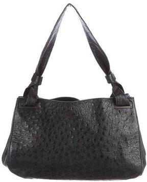 Gucci Ostrich Shoulder Bag - BLACK - STYLE