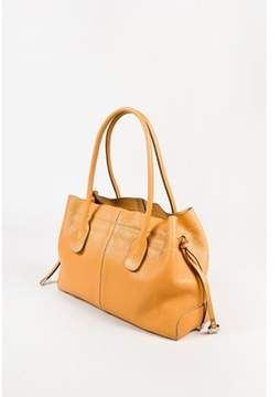 Tod's Pre-owned Tan Pebbled Leather White Stitching Double Strap 'd' Bag.