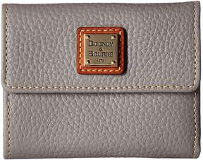 Dooney & Bourke Pebble Leather New SLGS Small Flap Credit Card Wallet Wallet Handbags - STONE/TAN TRIM - STYLE