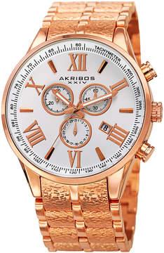 Akribos XXIV Silver Dial Rose Gold-Tone Men's Watch
