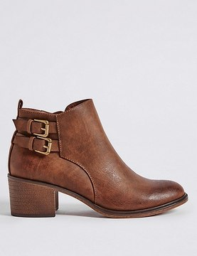 Marks and Spencer Block Heel Double Buckle Ankle Boots