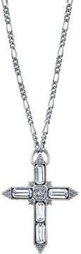 1928 Crystal Baguette Cross Pendant Necklace