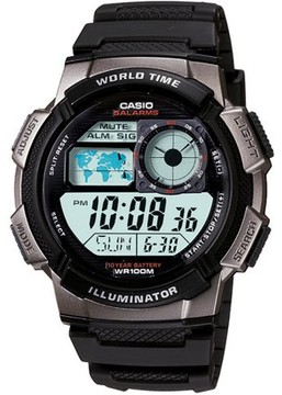 Casio Men's Digital Sport Watch With Time Zone Display, Resin Band