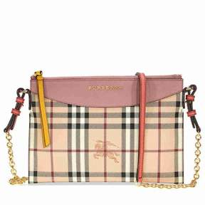 Burberry Haymarket Check and Two Tone Leather Clutch - Dusty Pink / Multi - ONE COLOR - STYLE