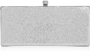 Jimmy Choo CELESTE Silver Glitter Fabric Clutch Bag with Cube Clasp