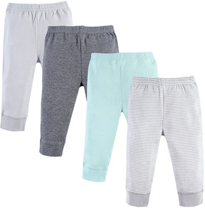 Luvable Friends Light Gray Stripe Joggers - Set of Four