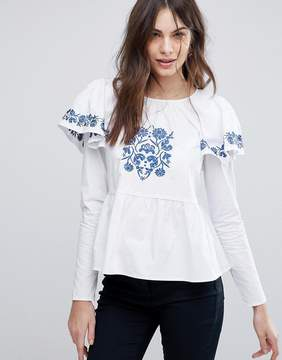 Fashion Union Embroidered Blouse With Puff Sleeves