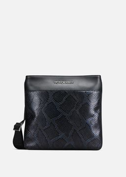 Emporio Armani python print leather flat messenger bag