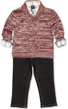 Nautica 3-Pc. Shawl Sweater, Plaid Shirt & Jeans Set, Baby Boys