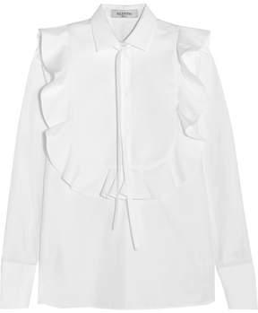 Valentino Pussy-bow Jacquard-paneled Cotton-poplin Shirt - White