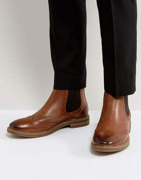 Base London Riley Leather Brogue Chelsea Boots