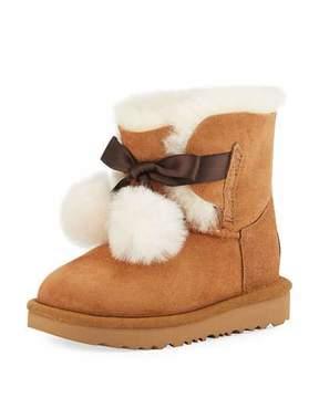 UGG Gita Pompoms Shearling Fur Boot, Toddler