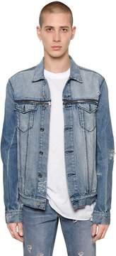 RtA Destroyed Washed Denim Jacket W/ Zips