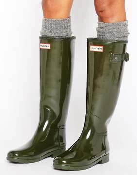 Hunter Refined Gloss Dark Olive Tall Wellington Boots