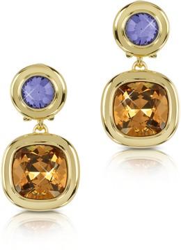 Forzieri Purple and Orange Crystal Earrings