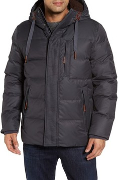 Andrew Marc Men's Groton Slim Down Jacket With Faux Shearling Lining