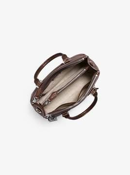 Michael Kors Casey Medium Leather and Crocodile Satchel - NUTMEG - STYLE