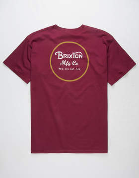 Brixton Wheeler II Burgundy Mens T-Shirt